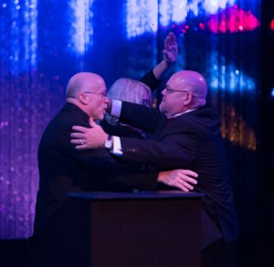 Don Calamia and David Kiley sharing an emotional moment at the close of the awards evening.